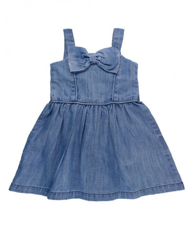 Ruffle Butts Light Wash Denim Fit & Flare Bow Dress