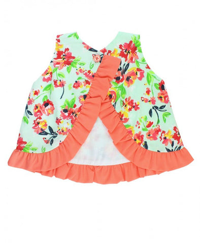 Ruffle Butts Painted Flowers Bow-Front Swing Top