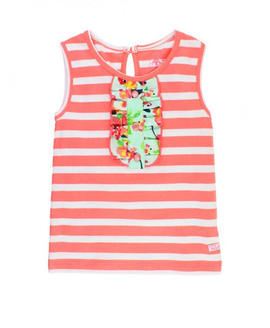 Ruffle Butts Painted Flowers Coral Stripe Tank