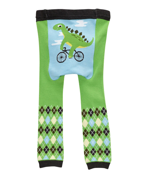 Doodle Pants Green Dino On A Bike Leggings