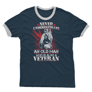 Never Underestimate An Old Man Who Is Also A Veteran Adult Ringer T-Shirt