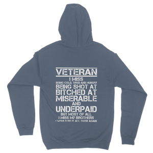 Veteran - I Would Do It All Over Again (Back Print) Classic Adult Hoodie