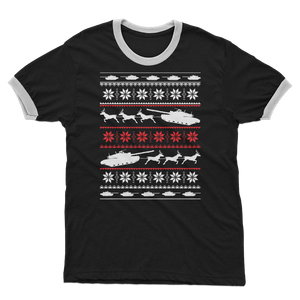Army Sleigh Tank Christmas Adult Ringer T-Shirt