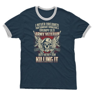 Grumpy Old Army Veteran Adult Ringer T-Shirt