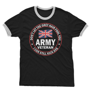 Army Veteran - I Can Still Kick A** Adult Ringer T-Shirt