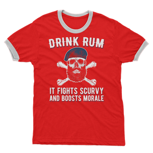 Drink Rum - It Fights Scurvy And Boosts Morale Adult Ringer T-Shirt