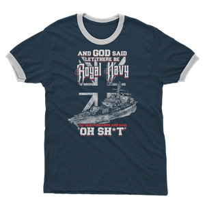 And God Said Let There Be Royal Navy Adult Ringer T-Shirt