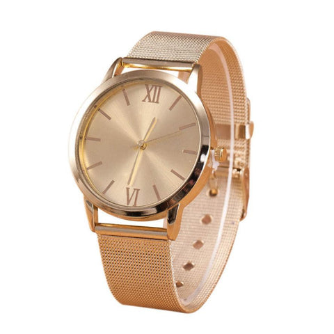 Ladies Gold Stainless Steel Mesh Band Wrist Watch