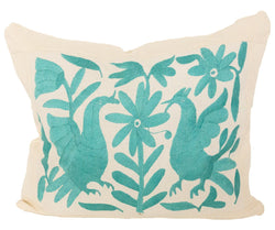 Mexican Otomi Pillow - Tulum - Turquoise // Keeka Collection