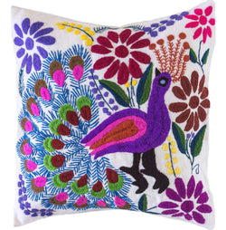 Mexican Embroidered Pillow - White Peacock // Keeka Collection