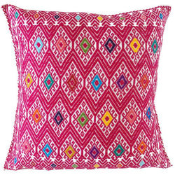 Woven Mexican Pillow - Cheerful Pink // Keeka Collection