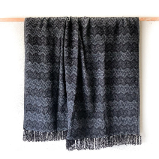 Peruvian Alpaca Blanket - Black || Keeka Collection