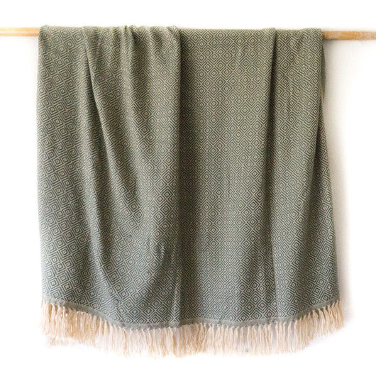 Peruvian Alpaca Blanket - Sage Green || Keeka Collection