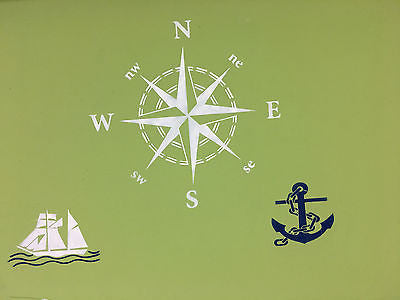 Ocean Stencils - 3 pack  - Nautical Compass, Ship and Anchor - Reusable Pattern