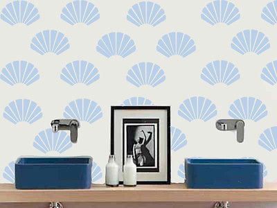 Wall Stencil Clam shell design - Reusable 10 mil mylar Stencil Reusable Pattern