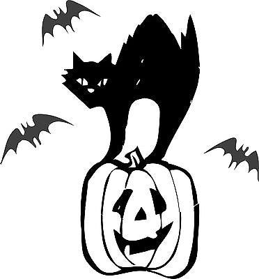 Halloween Stencil with Black Cat, Pumkin and bats - real stencil