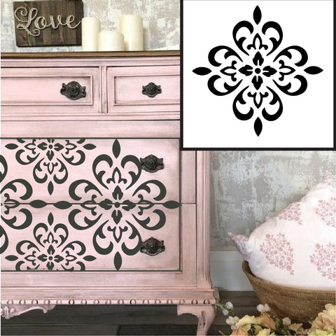 Damask Flower - High Quality Stencil - 10 Mil Clear Mylar  - Reusable Pattern