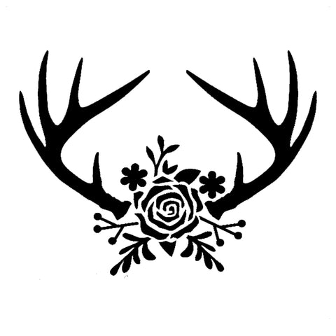 Floral Deer Antlers - High Quality Reusable Stencil on 10 mil Mylar
