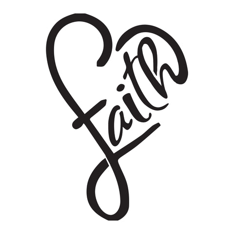 Faith Heart -10 Mil Mylar-Reusable Stencil Pattern