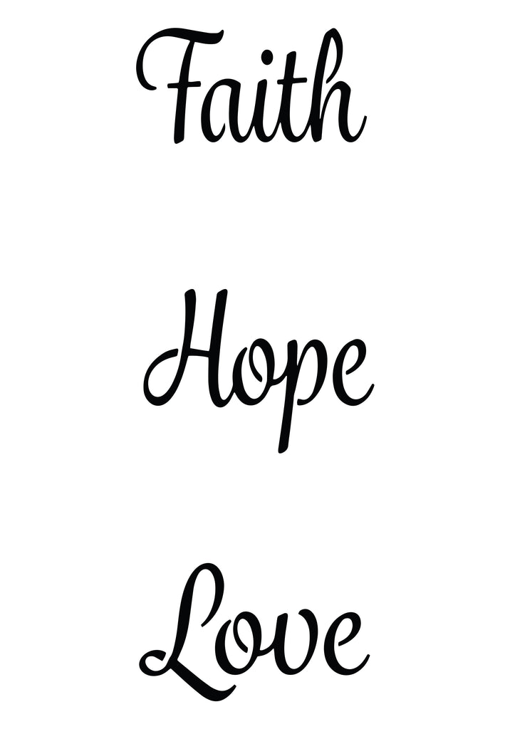 Custom Faith Hope Love Stencils- 4pk - Reusable Pattern - 10 Mil Mylar