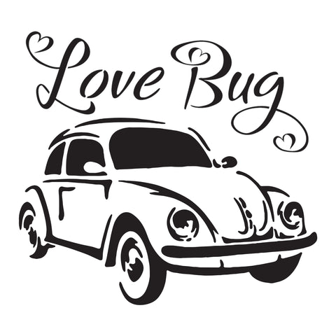 Love Bug - 10 Mil Clear Mylar -Reusable Stencil Pattern