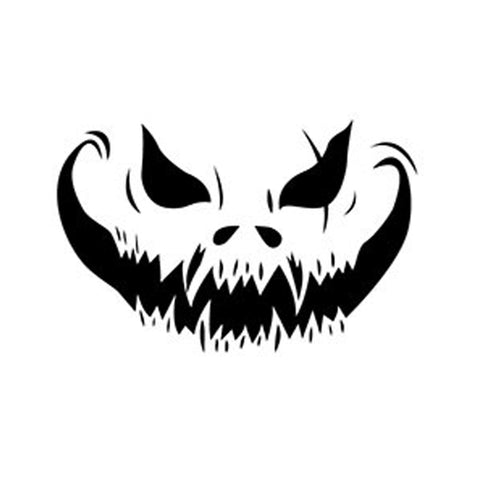 Mean Pumpkin Face Stencil - 10 Mil Clear Mylar - Reusable Pattern