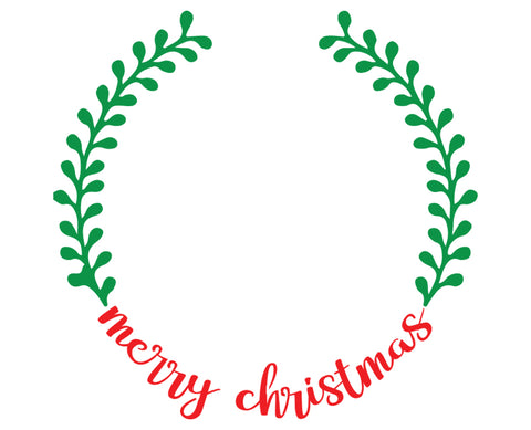 Merry Christmas Wreath - 10 Mil Clear Mylar  - Reusable Stencil Pattern