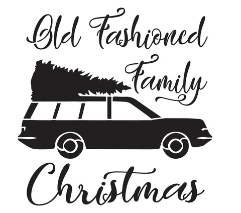 Old Fashioned Family Christmas - 10 Mil Clear Mylar -Reusable Stencil Pattern