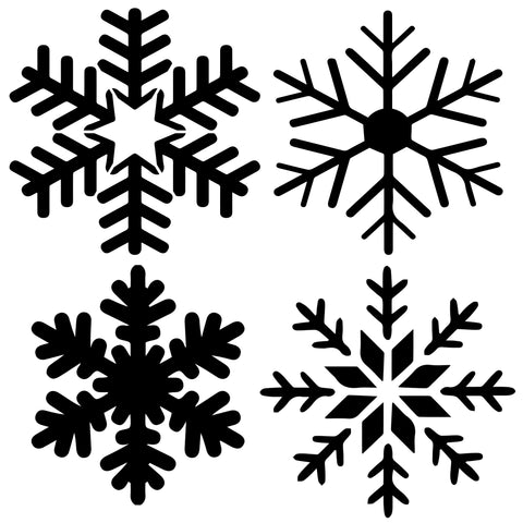 Snowflakes 4pk - 10 Mil Clear Mylar -Reusable Stencil Pattern
