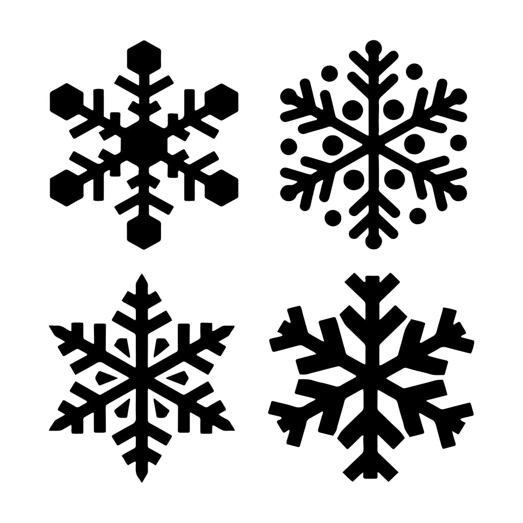 Snowflakes-Set of 4 - 10 Mil Clear Mylar -Reusable Stencil Pattern