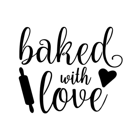 Baked With Love - 10 Mil Clear Mylar  - Reusable Stencil Pattern