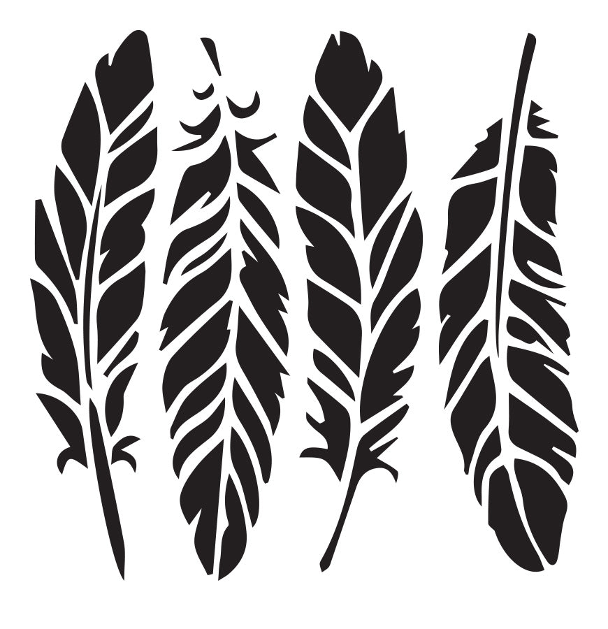 Feathers - 10 Mil Clear Mylar  - Reusable Stencil Pattern