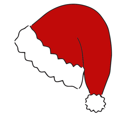 Santa Hat - 10 Mil Clear Mylar  - Reusable Stencil Pattern