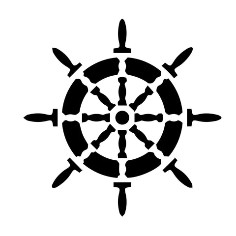 Ship Wheel - 10 Mil Clear Mylar  - Reusable Stencil Pattern
