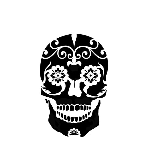 Sugar Skull - 10 Mil Clear Mylar  - Reusable Stencil Pattern