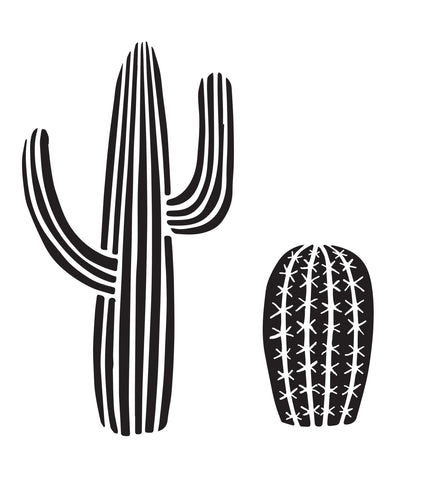 Cacti - 10 Mil Clear Mylar  - Reusable Stencil Pattern