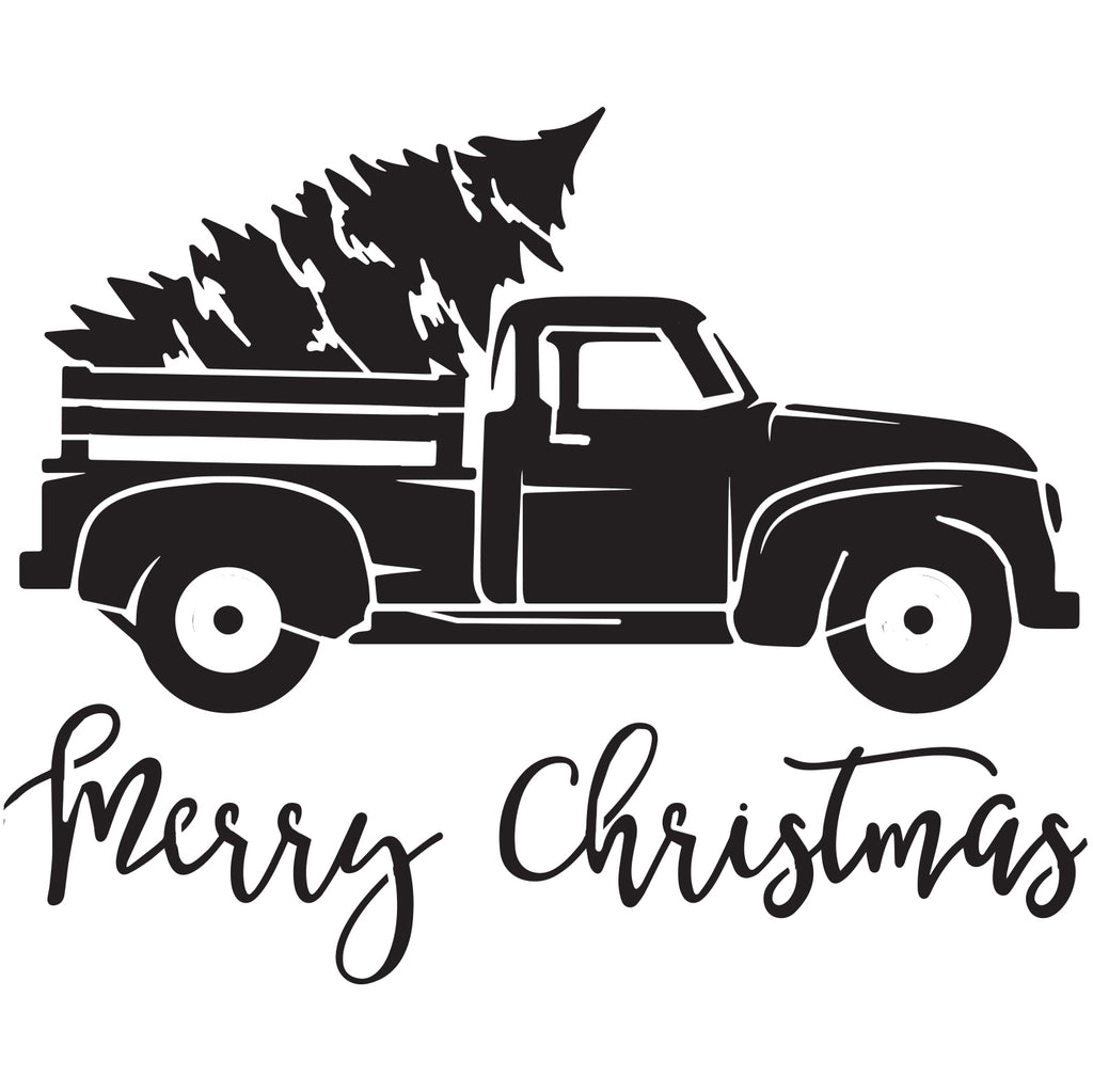Vintage Christmas Truck - 10 Mil Clear Mylar -Reusable Stencil Pattern