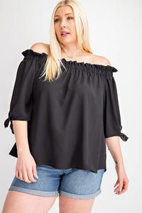 Curvy Black Out Off Shoulder Top