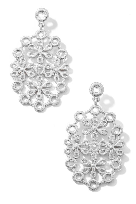 Ornate Oval Earring-Silver