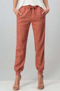 Ribbed Side Linen Jogger-Mauve