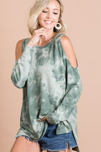 Load image into Gallery viewer, Olive Tie Dye Cold Shoulder