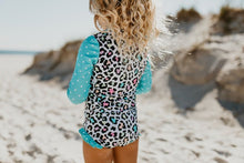 Load image into Gallery viewer, Teal Leopard Rashguard 1pc