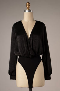 Black Surplice Bodysuit