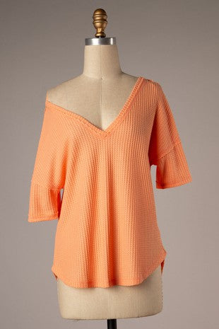 Peachy Waffle Knit Top