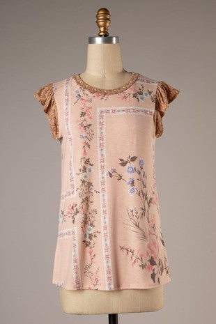 Paisley Peach Floral Top
