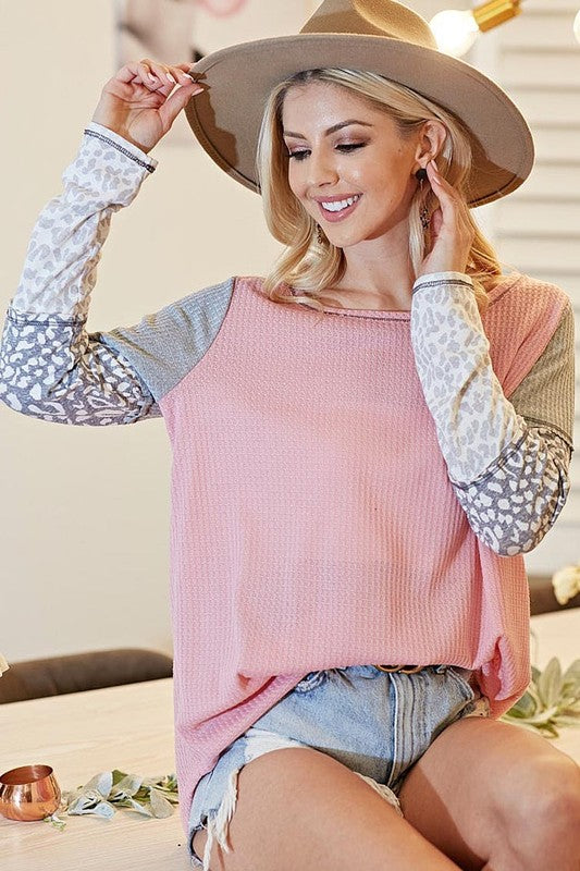 Leopard Block Sleeve Sweater