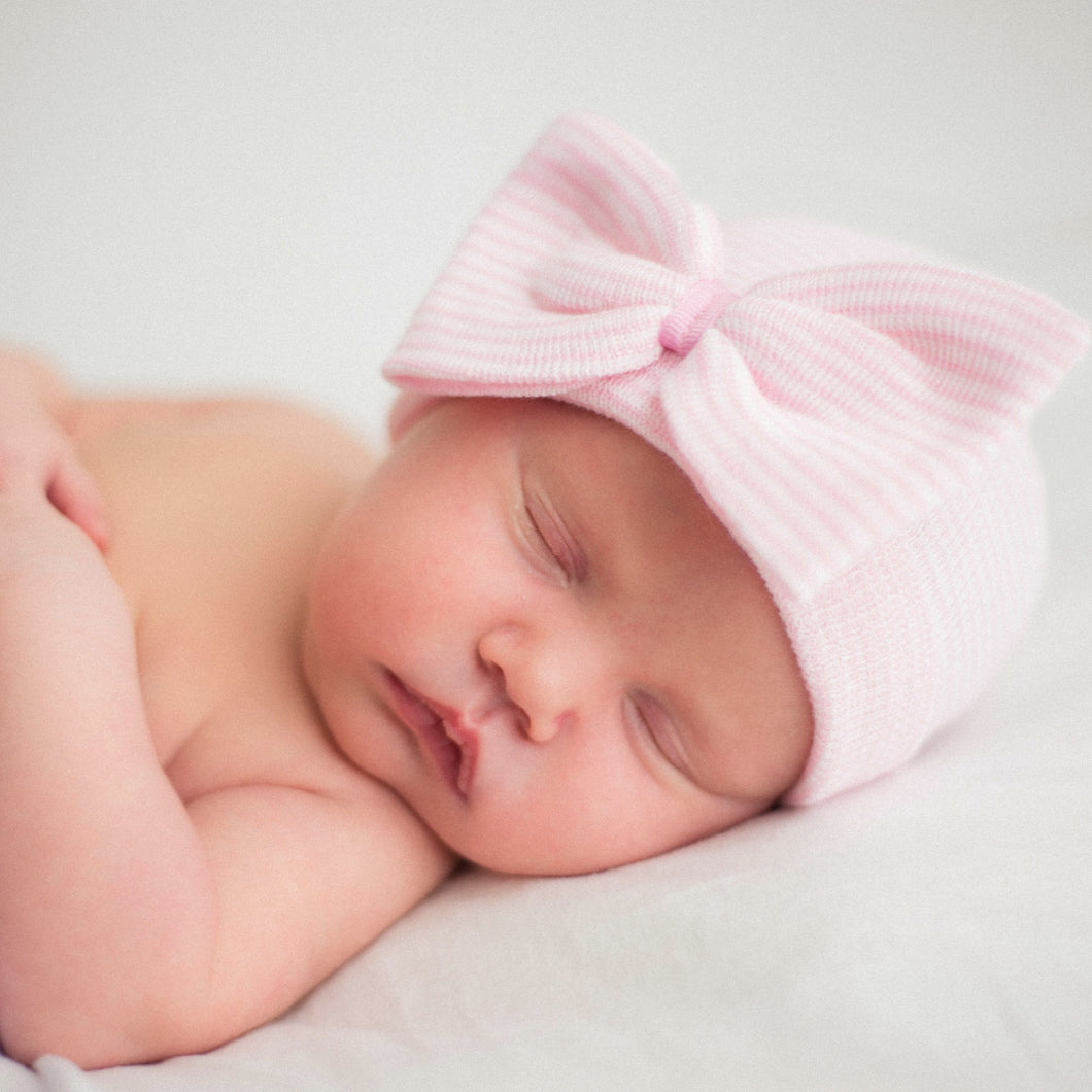 Light Pink Stripe Bow Newborn Beanie