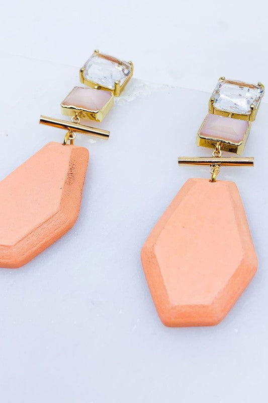 Geo Statement Earring-Peach