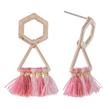 Load image into Gallery viewer, Geo Tassel Stud-Pink
