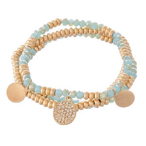 Dainty Beaded Stack-Turq